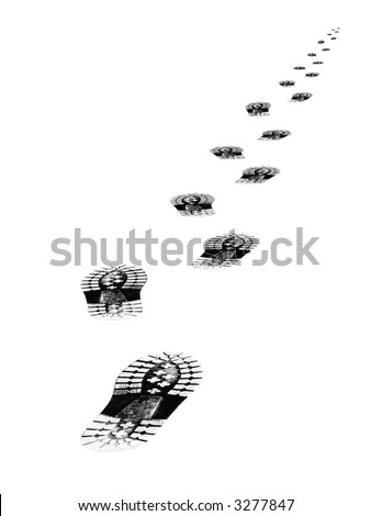 Tracks of shoes, isolated on white background