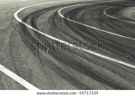 Tracks of tires on a speedway