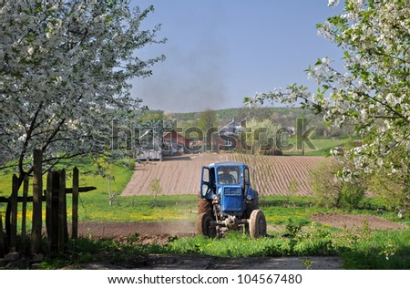 tracktor on the garden