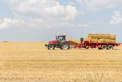 Tractor collecting straw bales during harvesting in the field at nice blue sunny day. Straw collection after wheat harvests. Loading bales of straw on trailer.