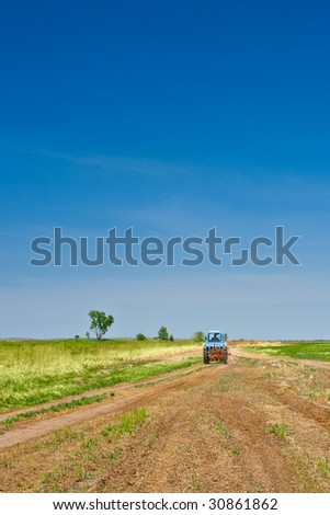 tractor going to the fields