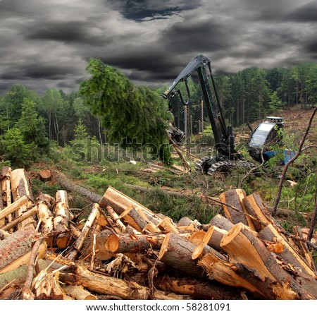 Tractor harvesting wood