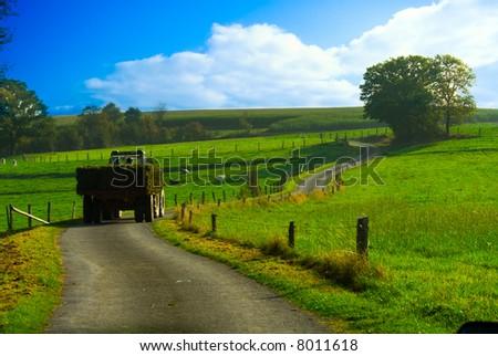 tractor in a beautiful farmland