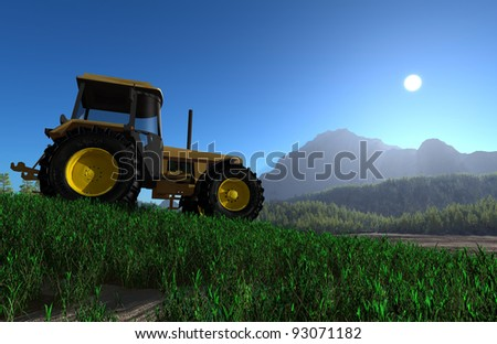 Tractor in the background of the mountain landscape.