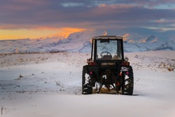 Tractor machine in Iceland