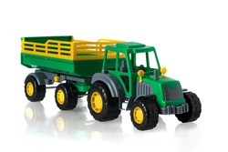 Tractor model with the trailer on a white background