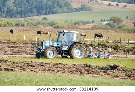 Tractor on field and cows behind