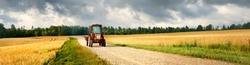 Tractor on the road through the agricultural field and forest under cumulus clouds after the rain, golden sunlight. Dramatic cloudscape. Idyllic rural landscape. Picturesque panoramic scenery