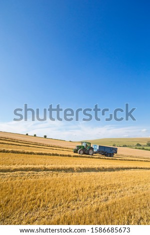 Tractor pulling trailer in sunny rural field