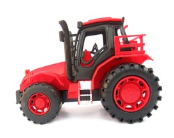Tractor red toy on white