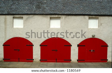 Tractor shed doors at Aden House Aberdeenshire