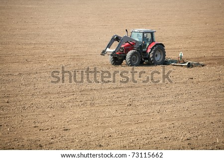 Tractor sown in the field