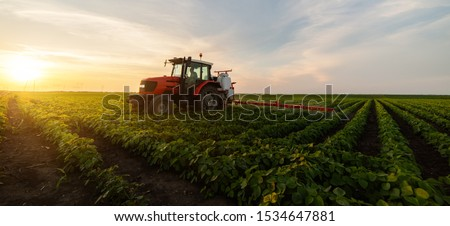Tractor spraying pesticides on soybean field  with sprayer at spring