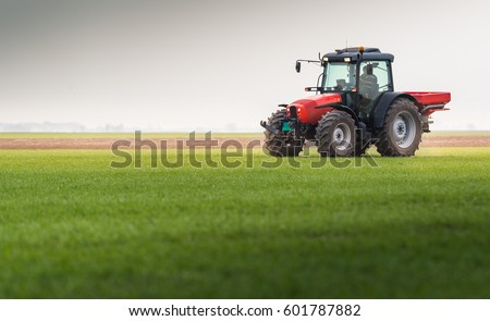 Tractor spreading artificial fertilizers  in field