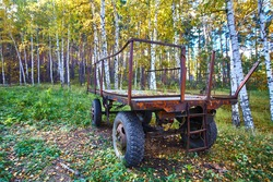 Tractor trailer. An old trailer sits on a green lawn