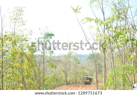 Tractor used for taking tourists to the top of the mountain called Phu Chom Lao along rough and tough road in a countryside of Thai Li District, Loei Province, where Lao PDR landscape can be seen #1289751673