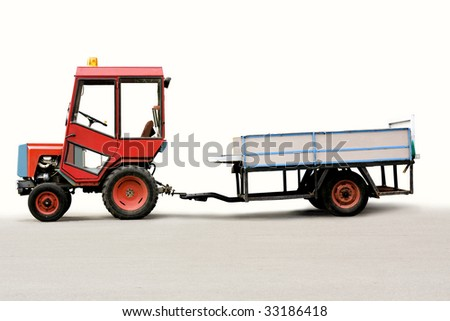 tractor with trailer. clipping path included.