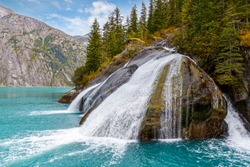 Tracy Arm Fjord waterfall in remote wilderness location