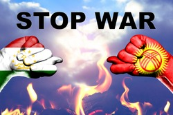 Trade and military conflict between Tajikistan and Kyrgyzstan. Conceptual photo of two fists with figs isolated on a white background. Stop the war.
