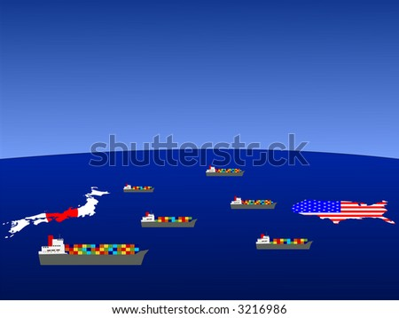 Trade between Japan and USA with container ships illustration