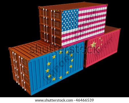 Trade containers USA China EU isolated on black