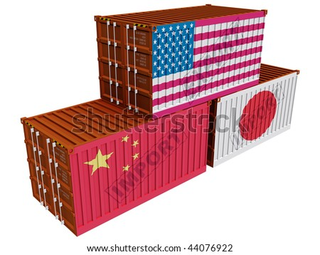 Trade containers USA Japan China