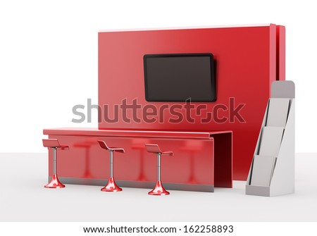 trade exhibition booth or stall 3D render