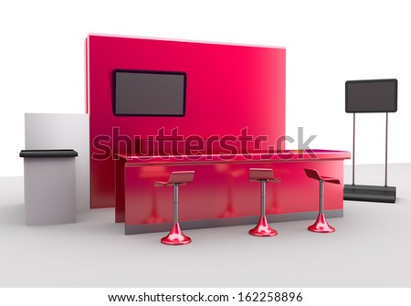 Trade Exhibition Booth Or Stall. 3d Render