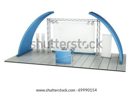 Trade exhibition stand. 3D rendered illustration