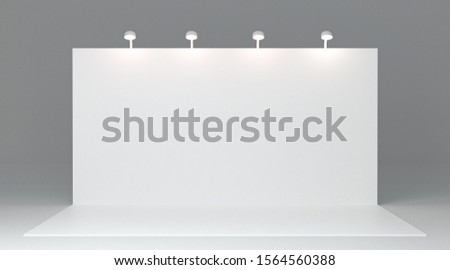 Trade exhibition stand, Exhibition Stand round. Advertising space on a white back ground, visualization of exhibition equipment, a set of stands with space for text ads. 3D illustration