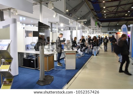 trade fair with different booths Photo stock ©