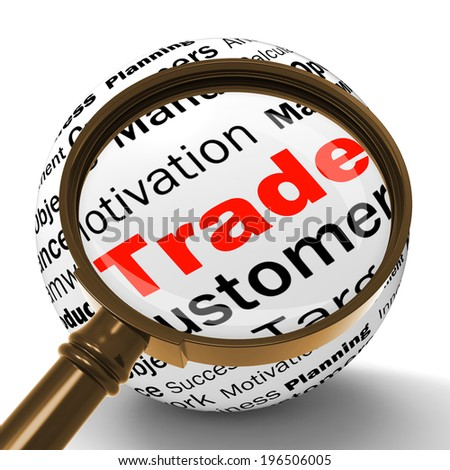 Trade Magnifier Definition Shows Stock Trading Selling Or Sharing