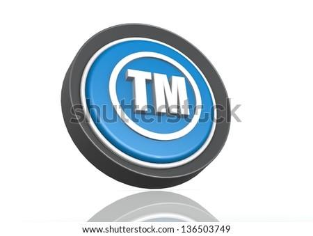 Trade mark round icon in blue