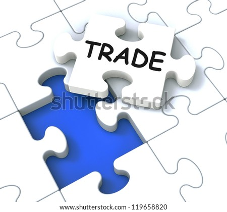 Trade Puzzle Shows Market, Commerce And Delivering