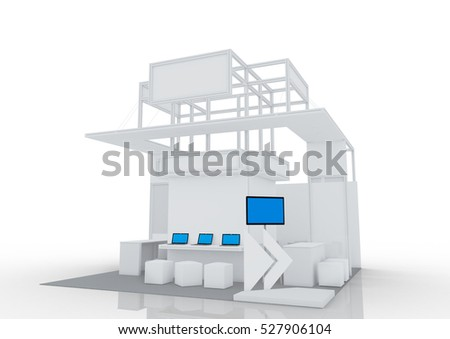 Trade show booth with TV stand, labtop. 3d render isolated on white background