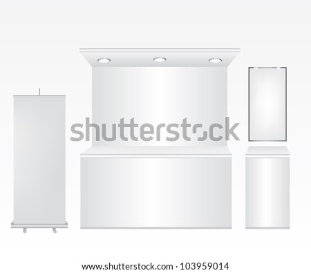 Trade stand and roll up illustration