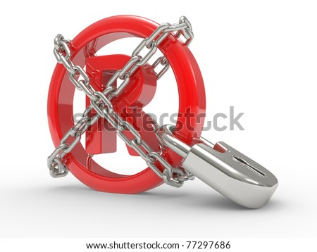 Trademark symbol 3d with steel chains on a white ground
