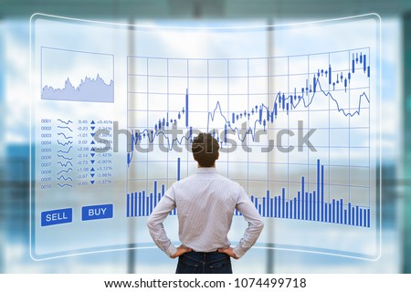 Trader analyzing forex (foreign exchange) trading charts with sell buy buttons on screen interface, financial technology (fintech) stock market concept, return on investment