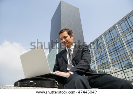 Trader working outside the office