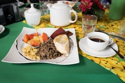 Tradicional Costa Rican breakfast and coffee