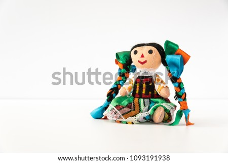 Tradicional mexican doll  in a colorful dress of Mexico  from Queretaro, hand crafted - Muñeca mexicana #1093191938