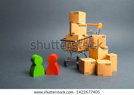 Trading car with boxes, a buyer and the seller, the manufacturer and the retailer. Business and commerce. Discussion of the terms of the transaction, the purchase of goods and services.