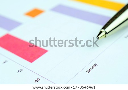 Trading chart and pen on a sheet of paper. Stock quotes in the form of a graph. Business project on paper. Profitable shares. Profit from financial activities. Risky business.