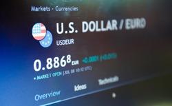 Trading pair dollar  euro on stock market or forex trading platform. Currency exchange.