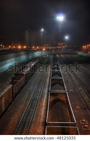 Trading trains at night. Moscow