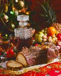 Tradirional Christmas Foods. Chocolate Christmas Yule Log Cake.