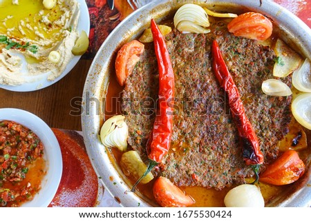 Traditioal tray (tepsi) kebab - Famous and belong the Hatay district of Turkey Stock fotó ©