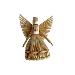 Tradition angels from handmade straw. National traditions of Ukraine.Christmas angel. Christmas straw ornament isolated on white background. Happy New Year and Merry Christmas card.