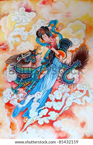 tradition Chinese painting on Chinese temple wall at Chonburi province Thailand