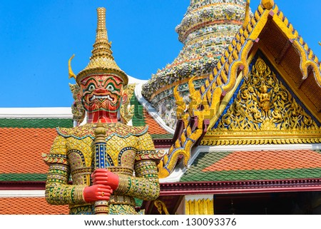Tradition thai style statue in the temple of bangkok province (Thailand) - stock photo
